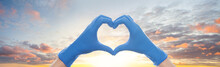 Heart Against Sky Clouds Backg...