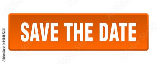 Fényképezés save the date button. save the date square orange push button