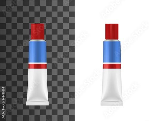 Photo Adhesive glue tube realistic 3d vector mockup
