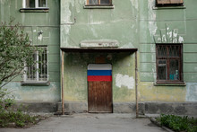 Old Soviet House With The Flag...