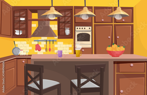 Cuadros en Lienzo Traditional classic wooden kitchen interior flat cartoon game style vector illustration
