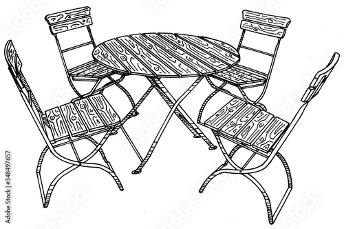 Fotografia Hand drawn image of traditional bavarian beergarden table and chairs