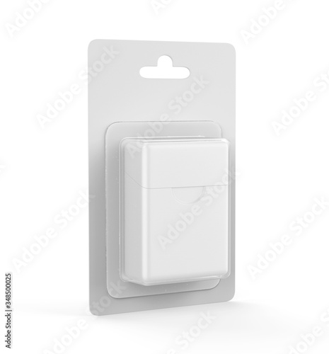 Dental Floss Blister Packaging with hand tab For Mockup And Branding, 3d render illustration Billede på lærred