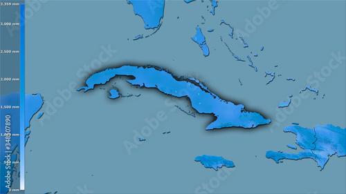 Cuba, annual precipitation - dark glow Wallpaper Mural
