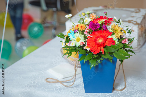 Blue bouquet of colorfull flowers Canvas Print