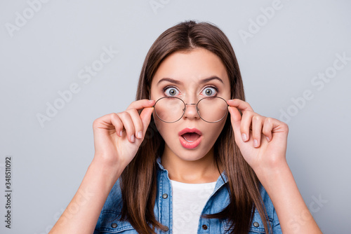 Fototapeta Close up photo of crazy astonished girl touch specs cant believe discount novelty wear casual style outfit isolated over gray color background obraz