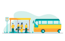 Passengers Waiting For Public Transport At Bus Stop Flat Vector Illustration. Cartoon Characters Using Auto. Transportation And Conveyance Concept.