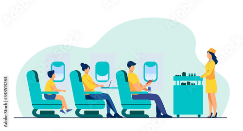 Photo Air trip with comfort flat vector illustration