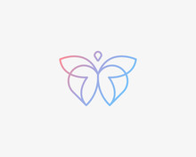 Abstract Butterfly And Heart Line Logo Design Vector. Luxury Hotel, Spa, Massage, Heritage Logotype Concept Icon.