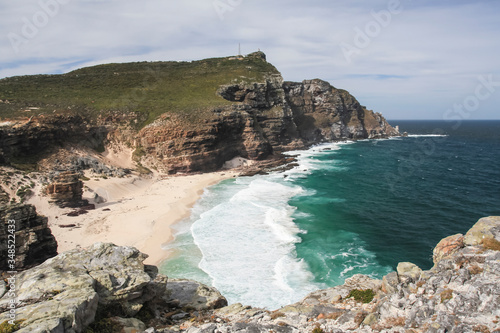 Valokuvatapetti Rocks, coast, beach and lighthouse at the Cape of Good Hope.