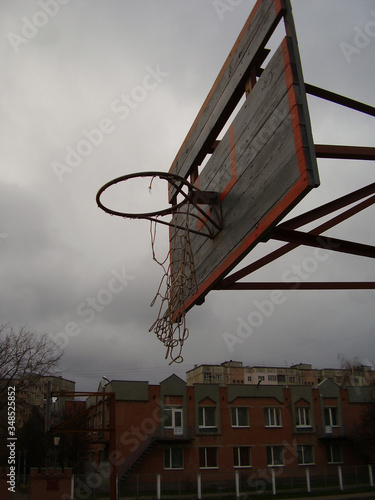 The backboard at the old basketball court. Canvas Print