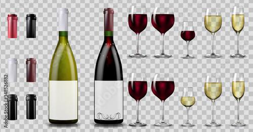 Fototapeta Red and white wine bottles and glasses. Realistic mockup obraz