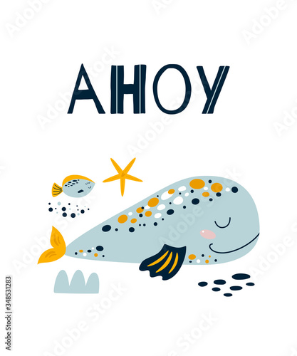 Photo Ahoy boy Cute blue whale poster