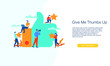 Give me thumbs up vector illustration concept template background can be use for presentation web banner UI UX landing page