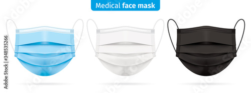 Photo Vector set of medical face masks in blue, white and black colors