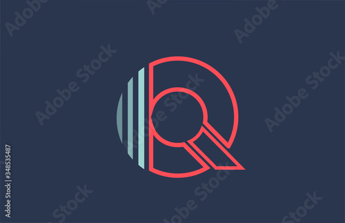 Foto blue red Q alphabet letter logo icon for company and business with line design