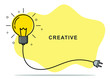 Badge sign template light bulb empty copy space. Concept creative idea and innovation. Vector illustration