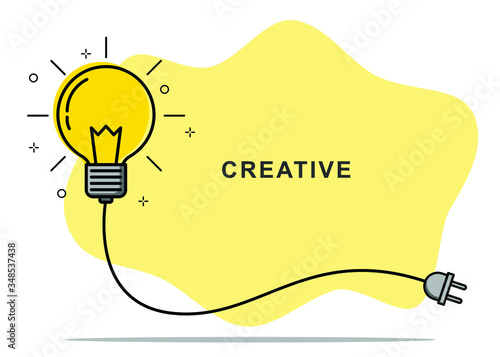 Obraz Badge sign template light bulb empty copy space. Concept creative idea and innovation. Vector illustration - fototapety do salonu