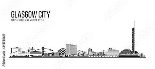 Cityscape Building Abstract Simple shape and modern style art Vector design - Glasgow city