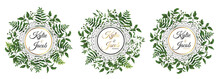 Set Of Circle Frame Herbs In Green Wreaths. Element Design Vector Illustration. Isolated On White Background. Perfectly For Greeting Card Design.