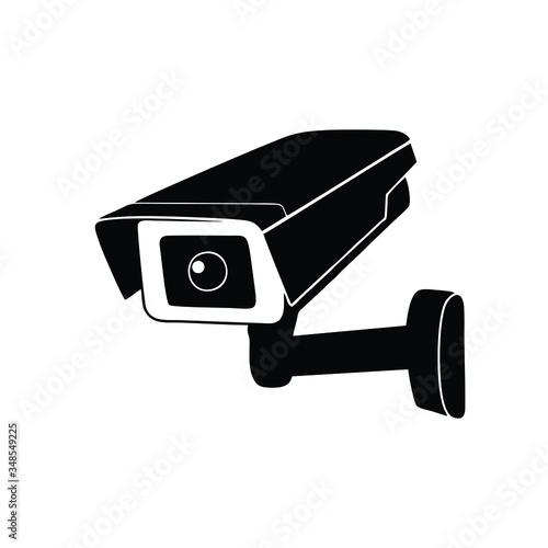 Papel de parede Cctv camera black isolated vector icon