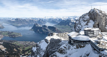 Breathtaking Panoramic View From Mount Pilatus On Sunny Winter Day In Lucerne