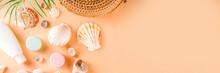 Summer Cosmetics Background. S...