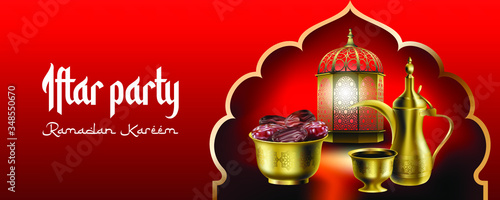Photo Blessed Ramadan Iftar party vector illustration with traditional arabic dallah c