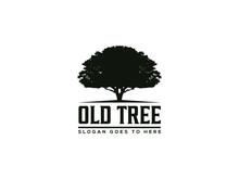 Vintage Old Oak Tree Logo Vector Illustration