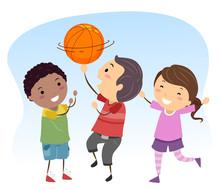 Stickman Kids Basketball Ball Spin Illustration