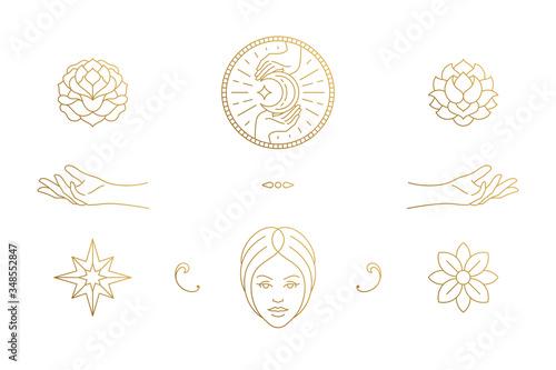Vector line feminine decoration design elements set - female face and gesture ha Wallpaper Mural