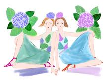 Illustration Of Women Representing Gemini Astrological Sign