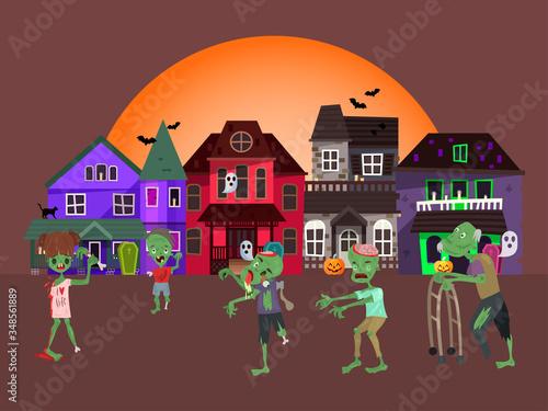 Concept zombie apocalypse house, living corpse walking urban city flat vector illustration Canvas Print