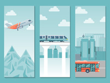 Different Travel Way Business Poster, Country Trip Train, Airplane And Bus Flat Vector Illustration. People Journey Around World, Various Type Public Transport. European Countries Trip.