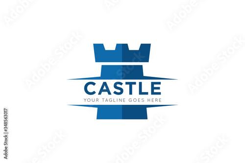 Fotografia Castle logo and icon vector illustration design template