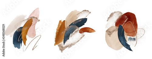 Obraz Arrangements. Terracotta, navy blue, orange, blush, pink, ivory, beige watercolor Illustration and gold elements, on white background. Abstract modern print set. Logo. Wall art. Poster. Business card. - fototapety do salonu
