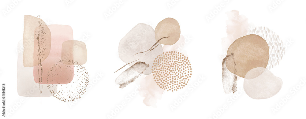 Fototapeta Arrangements. Blush, pink, ivory, beige watercolor Illustration and gold elements, on white background. Abstract modern print set. Logo. Wall art. Poster. Business card.