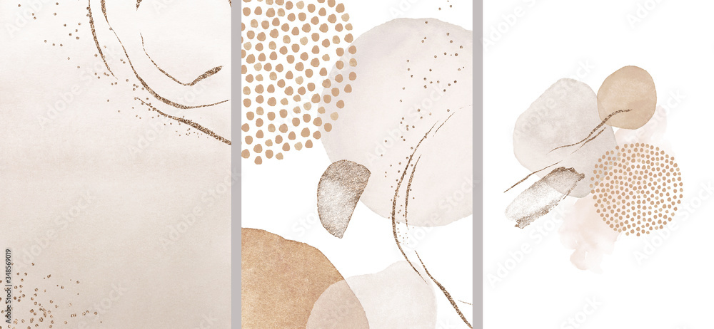Fototapeta Blush, pink, ivory, beige watercolor Illustration and gold elements, on white background. Abstract modern print set. Logo. Wall art. Posters.