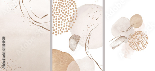 Photo Blush, pink, ivory, beige watercolor Illustration and gold elements, on white background