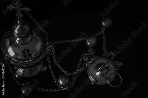 vintage phone with chain,church utensils, censer Canvas Print