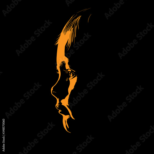 Baby face silhouette in contrast backlight. Canvas Print