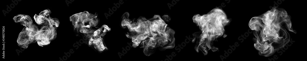 Fototapeta Smoke clouds, steam mist fog and white foggy vapor. 3D realistic smoke from dust particles isolated on black background