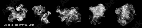 Fototapeta Smoke clouds, steam mist fog and white foggy vapor. 3D realistic smoke from dust particles isolated on black background obraz