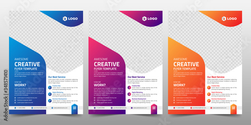 Fototapeta Creative Corporate & Business Flyer Brochure Template Design, abstract business flyer, vector template design. Brochure design, cover, annual report, poster, flyer obraz