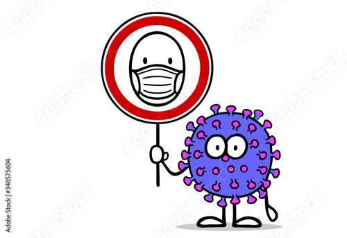 Fototapeta Coronavirus hält Maskenpflicht Schild mit Mundschutz obraz