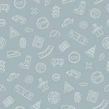 Doodle Seamless Pattern With Cars, Road Signs, Markings And Traffic Lights. Hand Drawn Vector Illustration On Gray Background