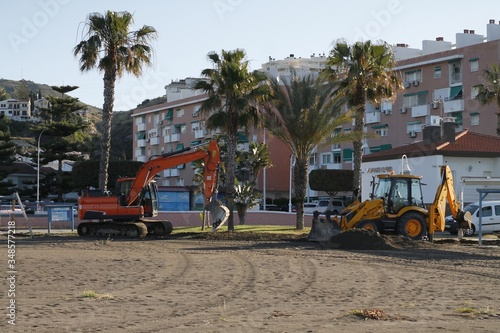 Photo construction site on the beach preparing the beach for the Opening Afterhours Co