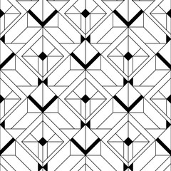 Panel Szklany Art Deco Art Deco Pattern. Vector black white background