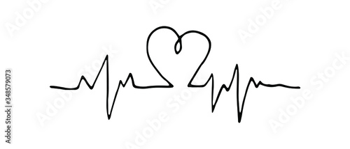 Isolated heartbeat line with heart on white background Canvas-taulu