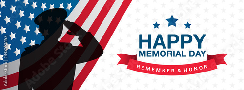 Stampa su Tela Happy Memorial Day - Remember and Honor Banner Vector illustration